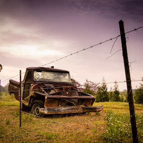 Truck in a Field by James Woodward - Artistic Objects Other Objects ( truck, farm, old truck, fence, farmland,  )