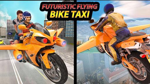 Real Flying Bike Taxi Simulator: Bike Driving Game apkmr screenshots 1