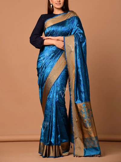 Peacock Blue Banarasi Silk Handloom Saree