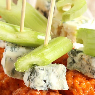 Buffalo Chicken Skewers with Avocado Ranch Dipping