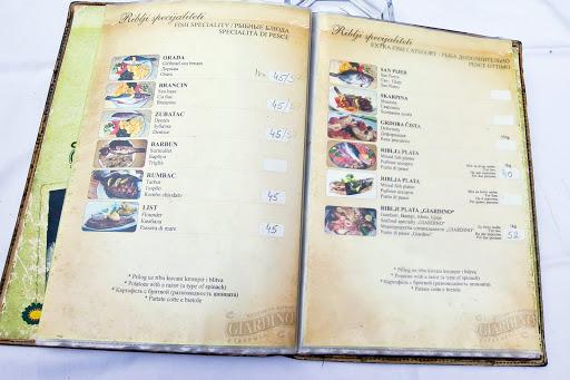 Kotor-restaurant-menu.jpg - A menu at a fish restaurant in the heart of Old Kotor.
