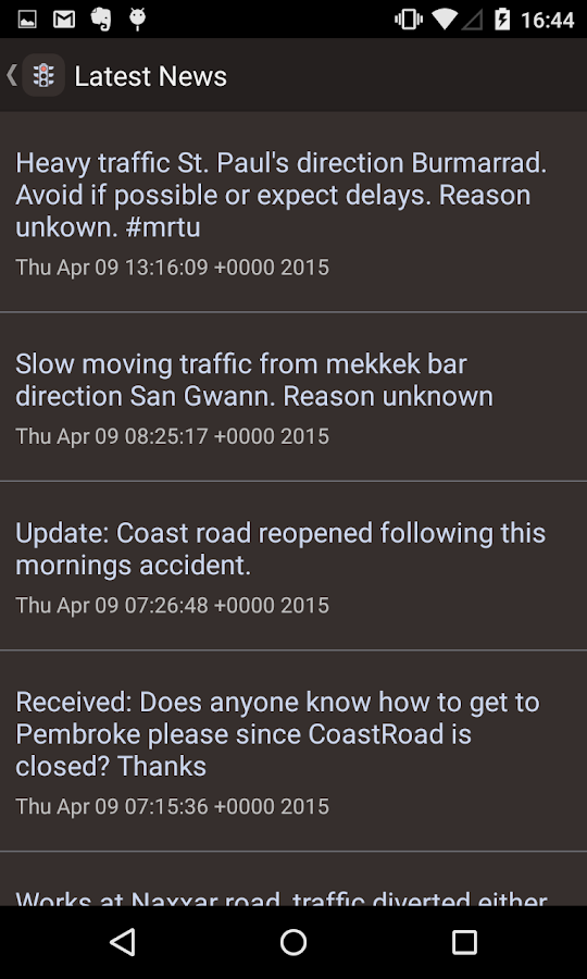 Maltese Roads Traffic Updates- screenshot