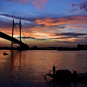 DRAMATIC SKY.. by Ajit Kumar Majhi - Landscapes Sunsets & Sunrises ( silhouette, sunset, sky_scape, bridge, landscape, river )