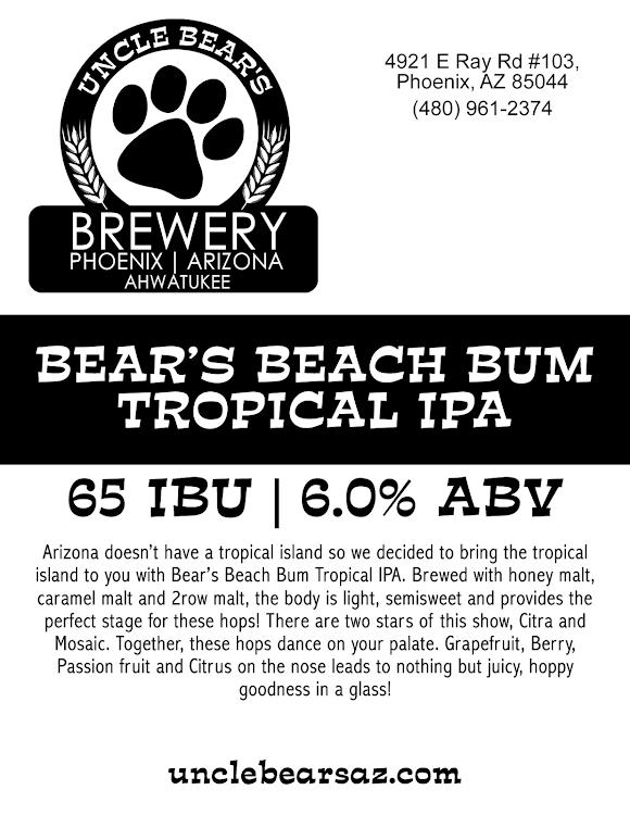 Logo of Uncle Bear's Beach Bum Tropical IPA