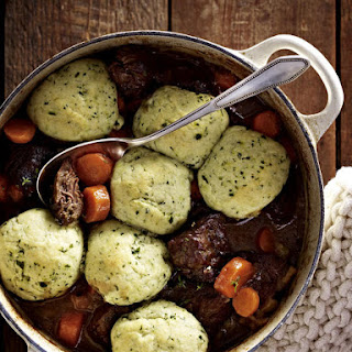 Beef and Ale Stew with Parsley Dumplings.