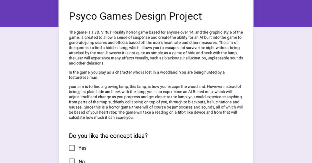 Psyco Games Design Project