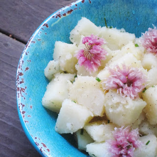 Simple Potato Salad with Pickled Chive Blossoms