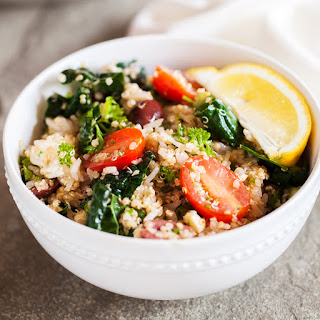 Mediterranean Rice & Quinoa Bowl with Salmon Kebabs.