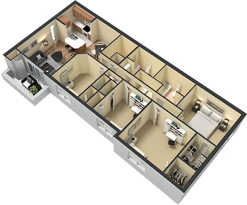 Go to Four Bed, Two Bath Floorplan page.