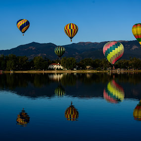 Balloons Over Prospect Lake by Craig Turner - Transportation Other ( balloon classic, colorado springs, cheyenne mountain, colorado )