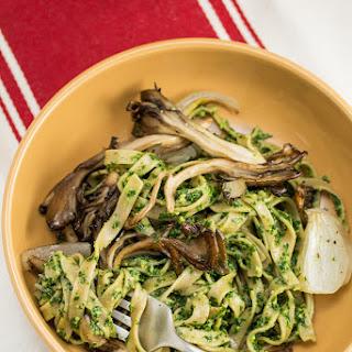 Farmer Fettuccine with Kale Pesto + Roasted Maitake Mushrooms