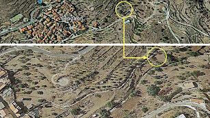 En la imagen superior, la situación general de la parcela al este de Benizalón. En la inferior la localización de la parcela, donde se prevé la EDAR.