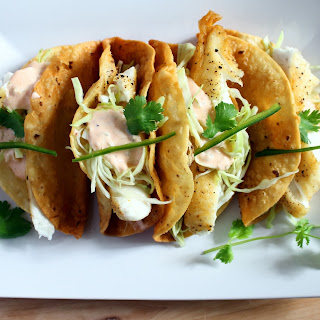 Crispy Fish Tacos with a Spicy Yogurt Sauce.