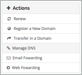 Manage DNS is selected from the Actions menu.