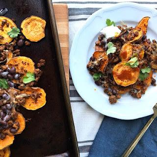 Superbowl Sweet Potato Nachos with Ground Turkey.