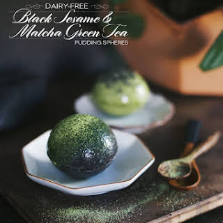 Dairy-Free Matcha Green Tea & Black Sesame Pudding Spheres.
