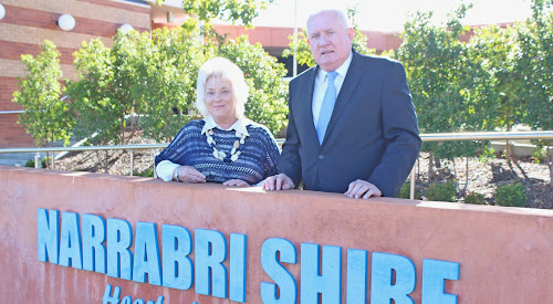Narrabri Shire Mayor Cathy Redding and happy applicant Greg Lamont after the Bellata pub redevelopment application was quickly processed by the council's planning department.