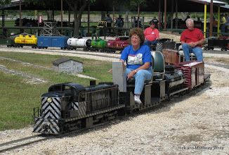 Photo: Virginia and Gil Freitag with Gary Brothers and his train behind them.  HALS-SLWS 2009-0523