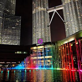 KLCC by Night by Omrin Kamarudin - City,  Street & Park  Night
