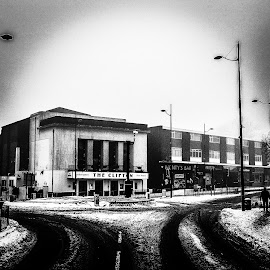 Sedgley  by Alan Turley - Black & White Buildings & Architecture ( snow building roads )
