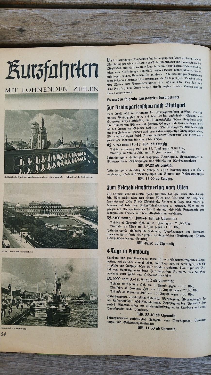 """Die Deutsche Arbeitsfront - Urlaubsfahrten 1939 - NS-Gemeinschaft """"Kraft durch Freude"""" Gau Sachsen - Katalog - Kurzfahrten"""