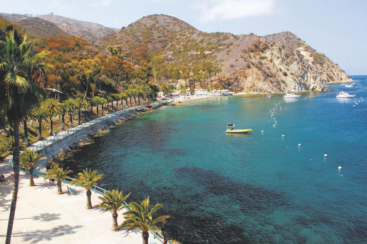 Catalina Island coast and boat