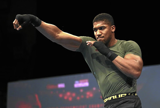 Heavyweight champion Anthony Joshua working out in Cardiff, UK.