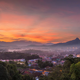 Sunrise view from Gombak  by Max Ng - Landscapes Mountains & Hills ( #sunrise #malaysia #kualalumpur #mountain #village )