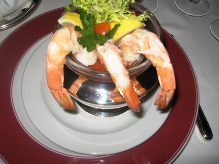 Even a shrimp cocktail is special on Oceania Marina