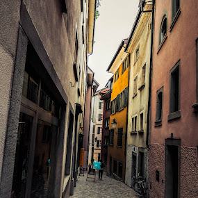 Streets of Zurich by Jordan  Richardson - City,  Street & Park  Street Scenes ( explore, tourist, zurich, brick, buildings, switzerland, scene, streets, travel, balloon )