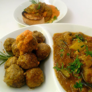 Lamb Meatballs + Eggplant Stew.