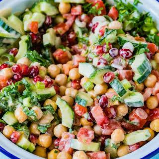 Mediterranean Chickpea Salad with Tahini Dressing.