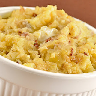 Rustic Onion-Bacon Smashed Potatoes.
