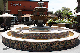 Photo: La Habra Promenade Marketplace Fountain- Malibu Tile Works - Design: MTW- C-105 (lower); MTW-Egyptian Flower (center); L-122 (top)