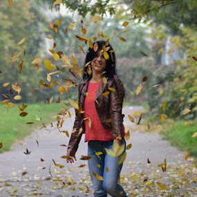 autumn by Sorin Rizu - People Street & Candids ( girl, park, leafs, autumn,  )