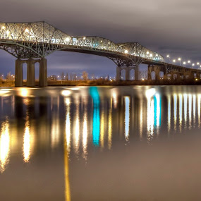 Champlain bridge Montreal, Qc.  Canada by Michel Arel - Buildings & Architecture Bridges & Suspended Structures ( water, montreal, night photography, #pixoto, long exposure, bridge, michel arel, champlain )