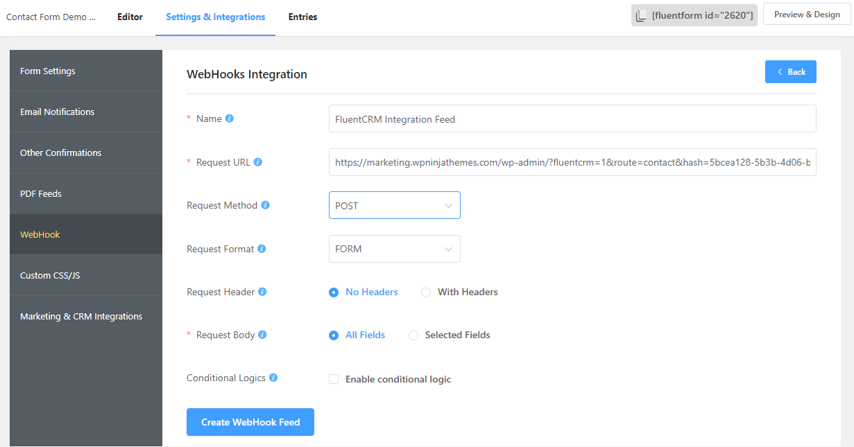 fluent forms webhook configuration