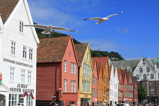Gulls come in for a landing in scenic Bryggen, near Bergen, Norway.