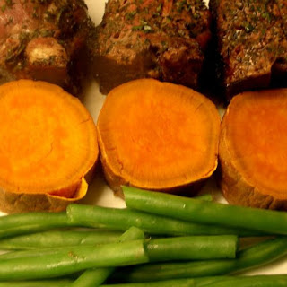 Grilled Lamb With Sweet Potato And Green Beans.