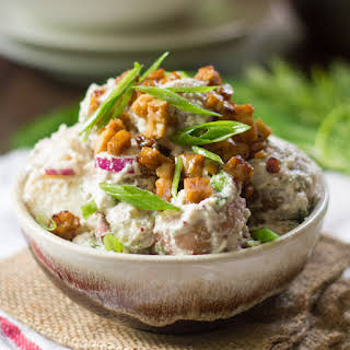 Creamy Dill Vegan Potato Salad with (Optional) Tempeh Bacon Bits.