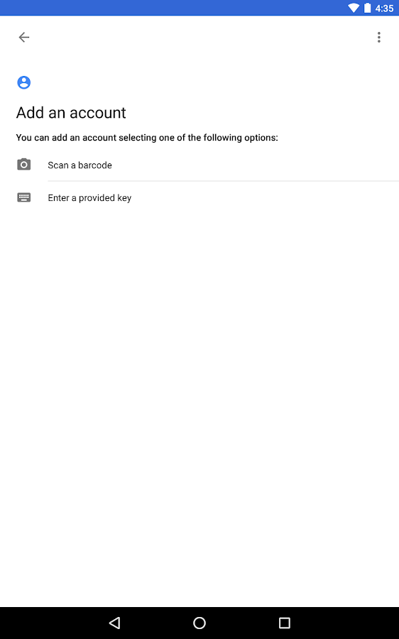 Google Authenticator: screenshot