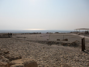 Photo: Dead Sea in the distance (but it used to be higher)