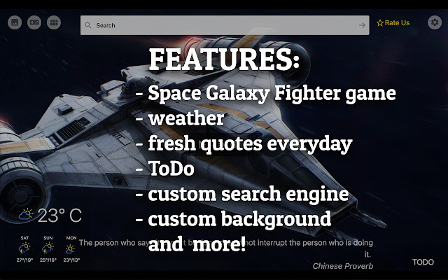 Space Galaxy Fighter New Tab