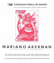 """Photo: Buenos Aires, Bank of Boston Cultural Foundation, """"Mariano Akerman: Diez pinceles por aguas profundas"""" (Ten Paintbrushes through Deep Waters), 1989. Poster to one-man exhibition, featuring """"Your Hounour."""" http://akermariano.blogspot.com/2012/12/mariano-akerman.html"""