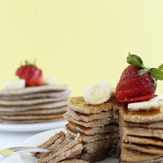 Strawberry Banana Oat Pancakes.