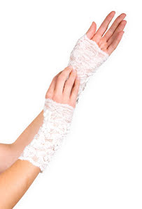 Handskar,  vit spets