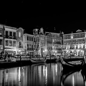 Magic Night by Fernando Cordeiro - Buildings & Architecture Other Exteriors ( water, black and white, cities, boats, b and w, landscape, b&w, monotone, mono-tone )