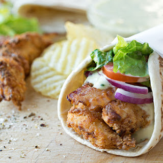 Crispy Chicken Strips Flatbread Wrap with Creamy Honey-Dijon Sauce