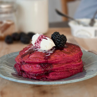 Beet Pancakes with Blackberries and Mascarpone