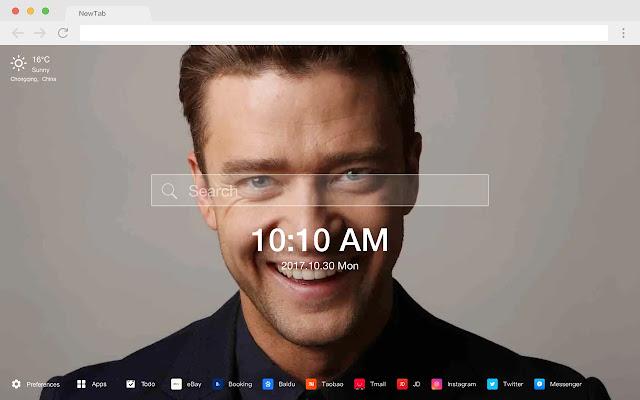 Justin Timberlake HD New Tab Stars Themes